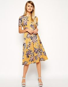 those colors! If only it were a little shorter. ASOS+Midi+Skater+Dress+in+Tapestry+Floral+Print