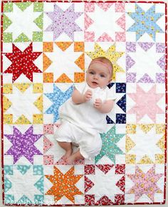 Shadow Stars Baby Quilt | This pretty baby quilt also doubles as an adorable play mat!