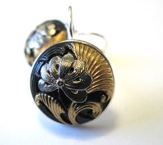 Vintage glass button earrings. Black glass with silver & gold, silver leverbacks. ~RARE~