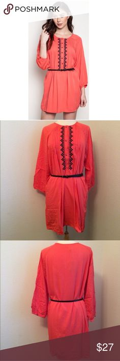 "Orange dress Coral dress S- L: 34"" B: 38"" M- L: 36"" B: 40"" L- L: 36"" B: 42"" Materials- 65% cotton/ 35% polyester. This dress has no stretch to it. The front has a button closure. Belt included!  NWT. Brand new with tags. Availability- S•M•L • 2•2•2                                   No tradesPrice is firm unless bundled  Dresses Long Sleeve"
