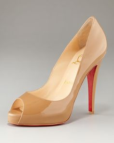 Darker more camel colored Christian Louboutin Very Prive Patent Open-Toe Platform Pump - Neiman Marcus $845
