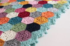 Weekender Hexagon Blanket w/half-hexi pattern too, so it can be made w/flat ends