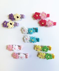 Look at this #zulilyfind! Cutie Collections Pink & Yellow Double-Daisy Barrette Clip Set of Ten by Cutie Collections #zulilyfinds