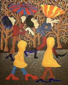 Two umbrellas/Maarit Korhonen, acrylic, oilsticks, canvas, 92cm x 73cm Dark Paintings, Original Paintings, Umbrella Painting, Rain Umbrella, Dancer In The Dark, Autumn Painting, Original Art For Sale, Online Painting, Figurative Art