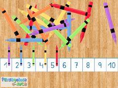 ABN – CONTAR: LA DECENA – ¿Cuántos rotuladores hay? (10-30) – Este juego trabaja la decena. Aparece un conjunto de elementos (rotuladores). El jugador/a, ha de contar los rotuladores, con la posiblidad de arrastrarlos hasta la recta numérica, y decir cuantos hay.