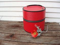 Vintage Wig Box Large Hat Box 1960s Mod Red Travel Hat Box Tote Bag - Orange Red