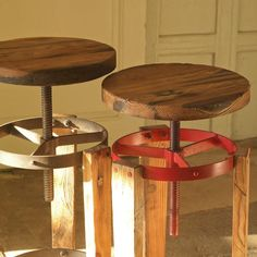 Sula Reclaimed Stool - This is cool, an adjustable height stool. Just what I need for my easel!
