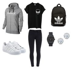 Sans titre #30 by paolacarreau on Polyvore featuring polyvore, fashion, style, Hurley, Paige Denim, adidas Originals, Nixon and Kobelli