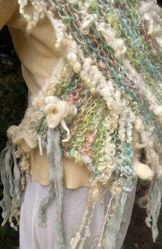 handknit artyarn wrap prayer shawl scarf from by beautifulplace Freeform Crochet, Knit Or Crochet, Crochet Scarves, Loom Knitting Patterns, Hand Knitting, Arm Crocheting, Creative Textiles, Hand Knit Scarf, Yarn Projects