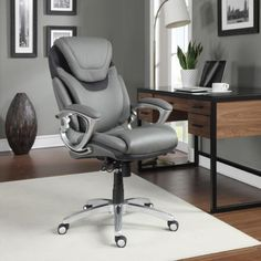 Executive Office Chair Bonded Leather Lumbar Support Padded Armrests Light Grey