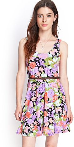 $15, Navy Floral Skater Dress: Forever 21 Floral Knit Skater Dress. Sold by Forever 21. Click for more info: http://lookastic.com/women/shop_items/86866/redirect