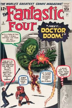 "Fantastic Four ""Prisoners of Doctor Doom"" On Sale: April 1962 Writer: Stan Lee Penciller: Jack Kirby Inker: Joe Sinnott Editor: Stan Lee Visit The Merry Marvel Marketing Method to learn more! Valuable Comic Books, Rare Comic Books, Comic Book Villains, Vintage Comic Books, Comic Book Covers, Vintage Comics, Book Characters, Marvel Characters, Cartoon Characters"