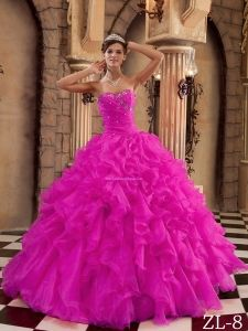 Organza Hot Pink Ball Gown Sweetheart Floor-length Ruffles 2013 Quinceanera Dress