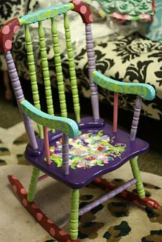 I am so doing this!  Now I need to find an kiddie rocker at the goodwill or garage sales.