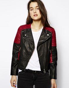 Eleven Paris Biker Jacket with Contrast Shoulder Detail