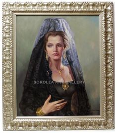 Mario Diaz : Woman with mantilla. Medium: Oil on canvas Measurements (cm): 93x80 Canvas measurements (cm): 73x60 Interior frame: No.  Beautiful artwork of this valued Andalusian painter, with a very wide color palette.$2,814.19