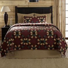 Makeover your room with our Fletcher Twin Quilt! The beautiful colors will make for a comforting escape at the end of the day. Pair it with our Burlap Natural accessories. https://www.primitivestarquiltshop.com/products/fletcher-twin-quilt #primitivecountrybedroomsbeddingandaccessories