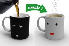 7 Coolest Heat Sensitive Mugs: The Morning Mug changes from a sleepy face to one that's wide awake as soon as you pour in hot liquid! Click image to see more!