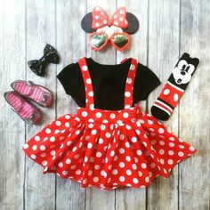 Our Red Minnie Mouse Suspender Skirt features a fun polka dot print and a full, twirly skirt. This listing is for the skirt only. Props shown are not included. This style can be styled so many ways, and is perfect for any occasion Mini Mouse Costume, Minnie Mouse Halloween Costume, Minnie Mouse Birthday Outfit, Minnie Mouse Costume Toddler, Minnie Dress, Minnie Mouse Clothes, Mini Mouse Outfit, Mickey And Minnie Costumes, Mini Mouse Dress