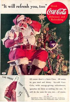"""Haddon Sundblom ~ the artist of Santa & a Coke ads ...  """"Sundblom gets pigeonholed as the painter of Coca-Cola Santa Clauses...""""  And @ 5 cents ... it was a long, long time ago."""