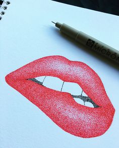 Nervous lips biting with millions of dot with stippling technique Lip Biting, Impressionism Art, Pointillism, Stippling, Art Drawings Sketches, Handmade Items, Handmade Gifts, Art Techniques, Art Education