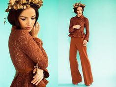 Mexicali Rose Gold Leaf. Headpiece. Brown. Lace. Flare Pants.