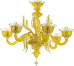 #Lampadario in #vetro di #Murano, stile Philippe Stark > http://danielebiasin.it/portfolio-items/lampadario-giallo-cedro/