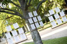 Campestre. Jaulas de hierro forjado colgadas en árbol con detalles de pájaros y mariposas.