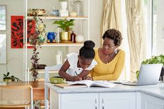 A mother and daughter work on homework or home schooling at home. Stylist: Bielle Bellingham Photographer: Micky Wiswedal Home Schooling, Homework, Daughter, Mom, Learning, Studying, Teaching, My Daughter, Mothers