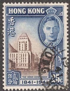 """Hong Kong  1941 Scott 172 25c deep blue & dark brown """"Hong Kong Bank"""""""
