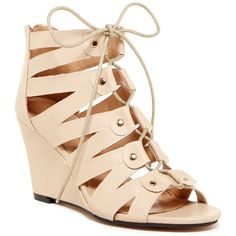 Chase & Chloe Fresh Wedge Sandal ($27) ❤ liked on Polyvore featuring shoes, sandals, nude, nude wedge sandal, cut out lace up sandals, nude sandals, open toe wedge sandals and laced sandals