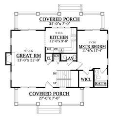 First Floor Plan image of CRAFTSMAN COTTAGE House Plan