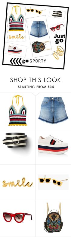 """""""8.9.17: Just Go Sporty"""" by wackyjacky-1 ❤ liked on Polyvore featuring RED Valentino, Gap, Gucci, Lee Renee, Gorjana, Thierry Lasry, Alexander McQueen and Freida Rothman"""