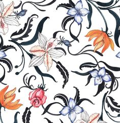 Hand painted floral pattern with watercolors. By Jackie lee design. Fashion Prints, Free Pattern, Women Wear, Textiles, Hand Painted, Watercolors, Repeat, Instagram Posts, Florals