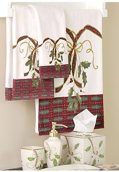 Lenox Holiday Nouveau Holly Bath Towel Set | Christmas Decor ...