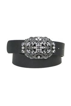 Sparkle Buckle Jean Belt In Black.