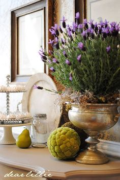 Potted lavender in silver ice bucket with moss- maybe on mantel? Dear Lillie: Some Purple to End The Summer and the Winner of the Briar Hat Vibeke Design, Dear Lillie, Deco Design, Design Design, Design Ideas, House Design, Belle Photo, Home Accents, Floral Arrangements