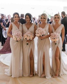 Nude Wrapped Bridesmaid Dresses