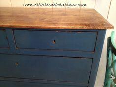 Azul Vintage / Vintage blue. DecoPintura El Taller de lo Antiguo. Azul antiguo, elegante, atemporal,