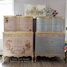 2 different looks that would look great alone or as a pair  I went with soft pink with gold leaf transfers and I added some flowers to the middle inside drawer and then silver and gold leaf for the other. Of course she needed to rock her new crown for pics   I used @dixiebellepaint Tea Rose with a touch of Soft Pink satin top coat and a lot of gold leaf. Then I added the @redesignwithprima Transfer and vintage knobs.  #chicandshabbyfurniturebyrebecca  #bestpaintonplanetearth Decoupage Furniture, Diy Pallet Furniture, Hand Painted Furniture, Refurbished Furniture, Paint Furniture, Repurposed Furniture, Furniture Makeover, Furniture Ideas, Colorful Furniture