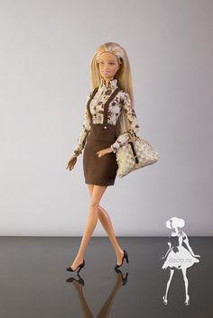 Платье обманка для барби, сумка простая, туфли из термоклея