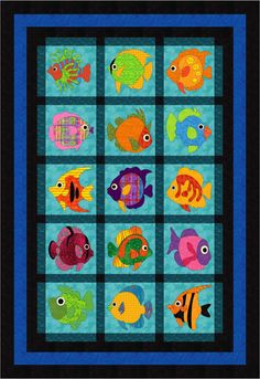 Colorful and flashy, create your own window to the sea. Designed for fusible machine applique, it is easily adapted for hand work. Include full sized templates for all 15 blocks. Finished Size : 62 x 90 inches as shown. Skill level : Advanced Beginner.