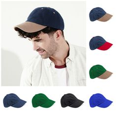 Baseball Cap Hat 100% Cotton Low Crown Low Profile Mens Womens Ladies  Contrast 0d3d155ebdd