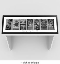 """Architectural Elements II and III Family Name Prints feature a black wood frame measures 26"""" x 10"""" with an inside area of 7 3/4"""" x 23 1/2"""". Each letter is taken from an element of architecture. Acrylic front. Hanging hardware included. Select white or black accent border. Personalize with last name of 5 to 10 characters or last name and family member names of up to 40 characters."""