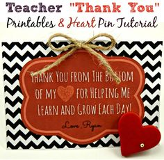 """Free """"Thank You"""" Teacher Printables & Polymer Heart Clay Tutorial (Great for Valentine's Day, too.)"""