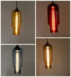 Colourful glass pendant with filament bulbs. Industrial yet colourful!!