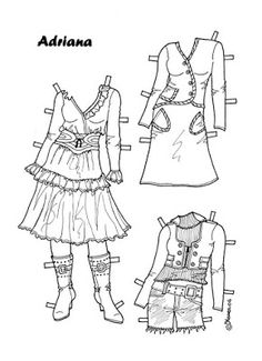 Karen`s Paper Dolls: Adriana 1-8 Paper Doll to Colour. Påklædningsdukke Adriana…