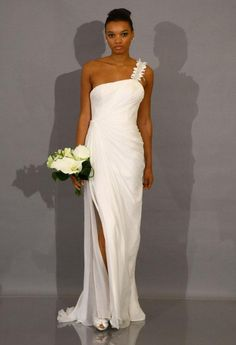 Sweep him off his feet with this one-shouldered floor-length gown | Style 881075 by Theia  #wedding #bride #weddingdress #bridaldress
