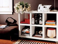 how to create your own entertaining center from a bookshelf
