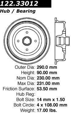 Brand:Centric Part Number:122.33012 Category:Brake Drum Price :$35.32 2Years Warranty